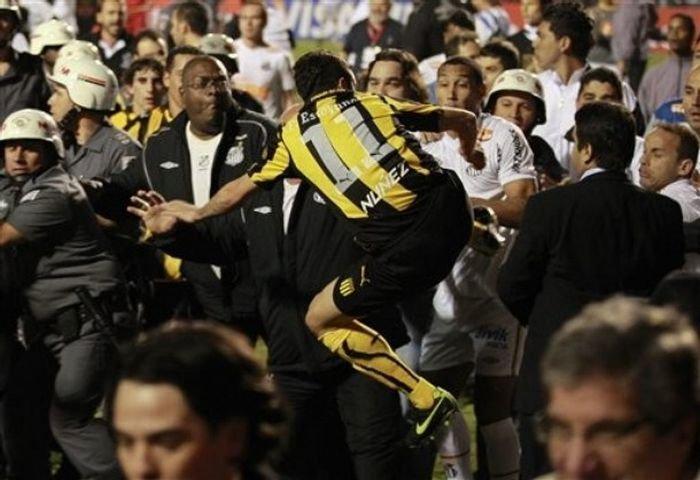 American Soccer Brawl Fists, Flying Kicks & 1 Thrown Bottle Video.