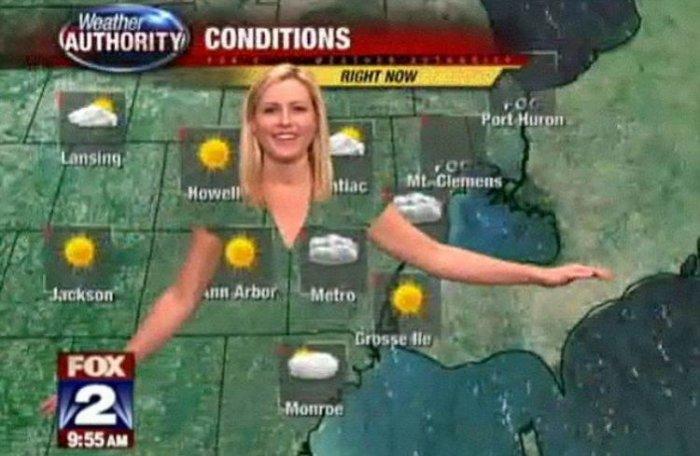 Почему ведущим прогноза погоды нельзя одеваться в зеленое Картинки и фото.
