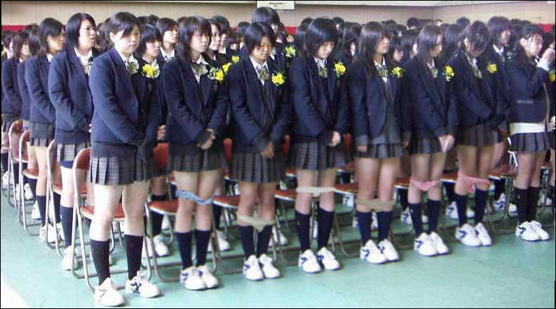 These schoolgirls are selling the panties right off their bodies.