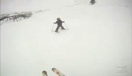 Неудачное завершение урока катания на лыжах (4.492 MB)