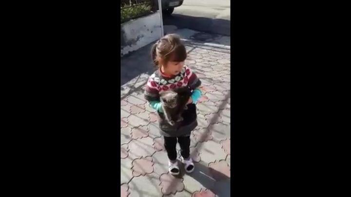Девочка просит оставить котенка (6.230 MB)