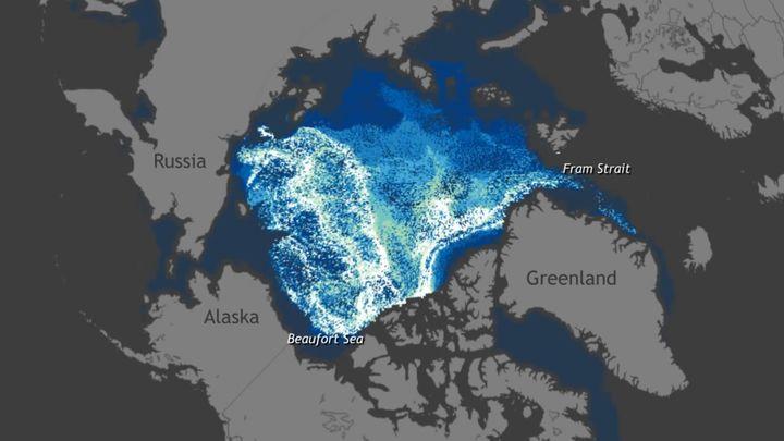 Движение льда в Арктике с 1987 по 2014 (5.837 MB)