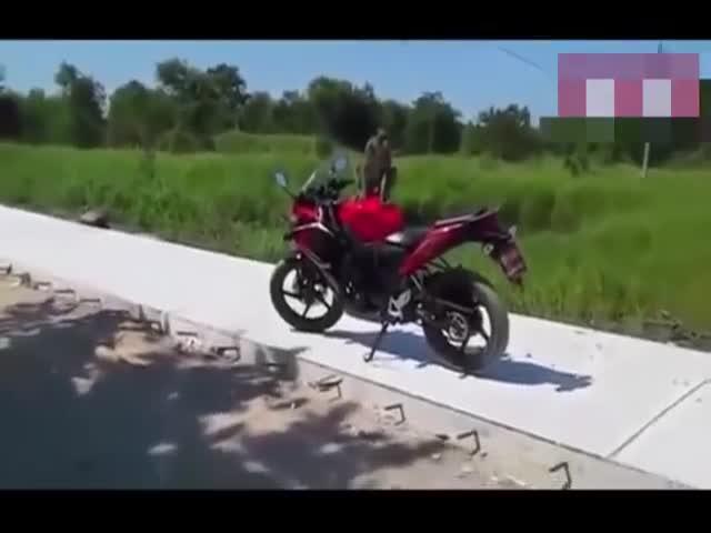 Парень попытался прогнать обезьяну со своего мотоцикла (4.659 MB)