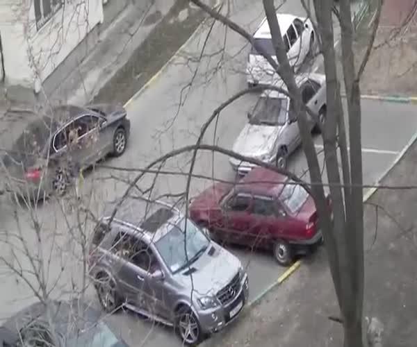 Наглый москвич блокирует парковочные места (14.291 MB)