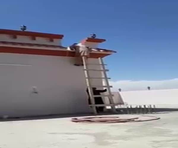Парень издевается над другом, спускающимся по лестнице (5.647 MB)