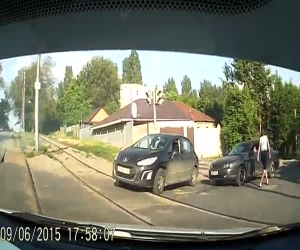 Девушки что-то не поделили на дороге (7.443 MB)