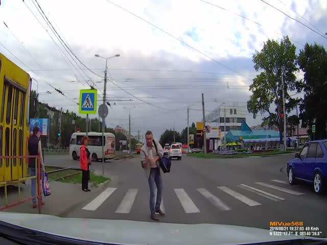 Ну очень злой пешеход
