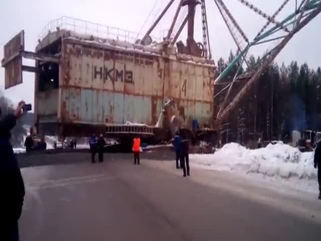 Огромный шагающий экскаватор пересекает дорогу в Свердловской области