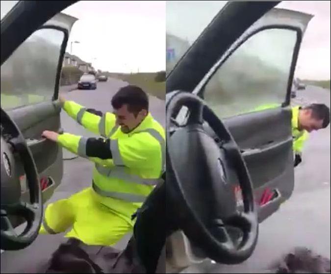 У водителя не получается закрыть дверь во время сильного ветра