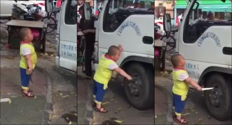 В Китае паренек запрещает водителю грузовика парковаться