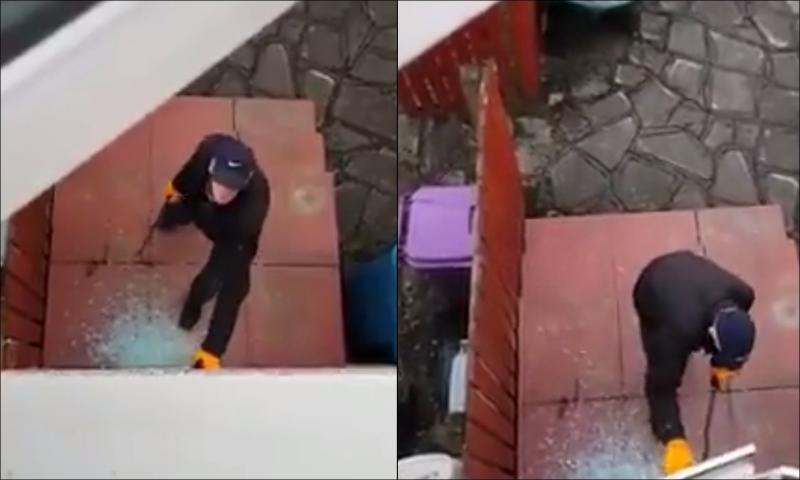 Вор не заметил, что хозяин дома и снимает его на видео, вызвав полицию