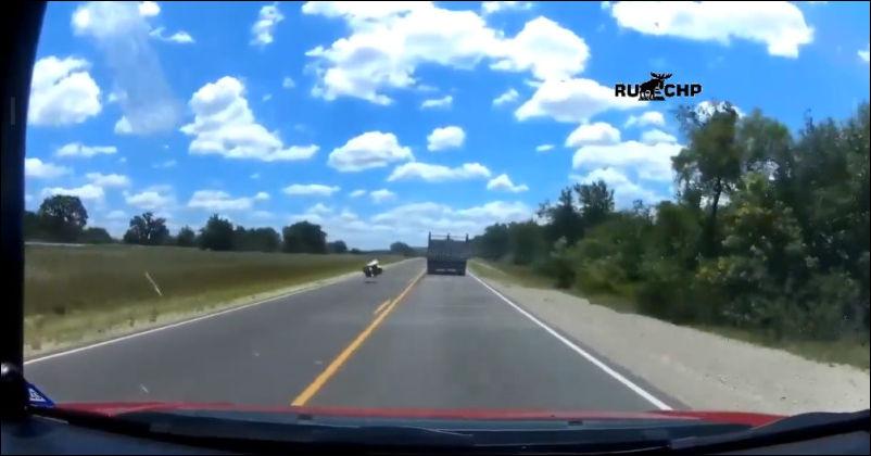 Не самый удачный день у водителя грузовика