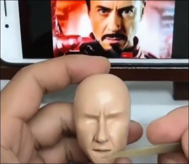 Процесс создания Тони Старка из пластилина