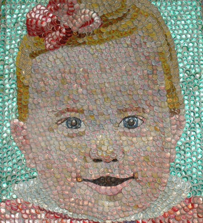Картины из бутылочных крышек (20 фото)