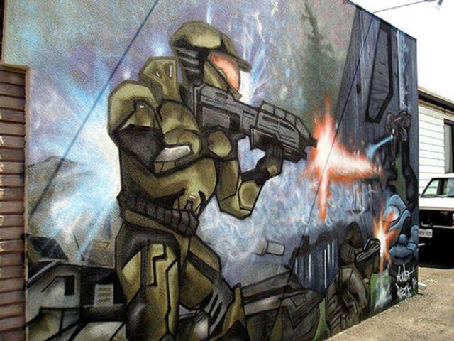Граффити на тему компьютерных игр (22 фото)