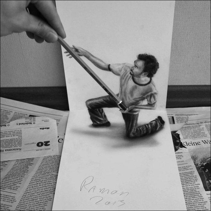 3D рисунки обычным карандашом (11 фото)