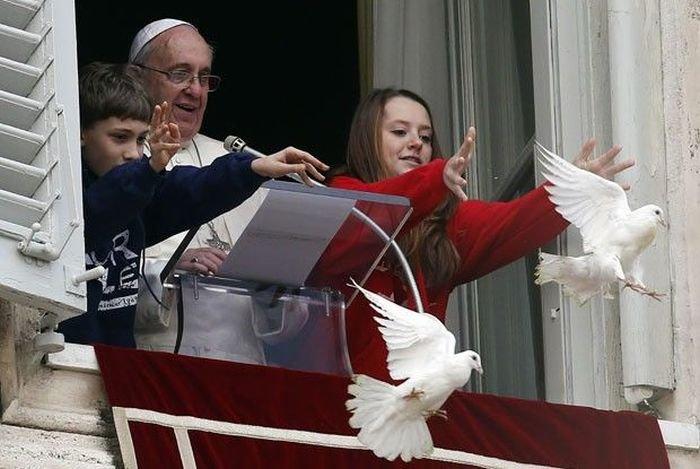 Папа выпустил голубей (4 фото)