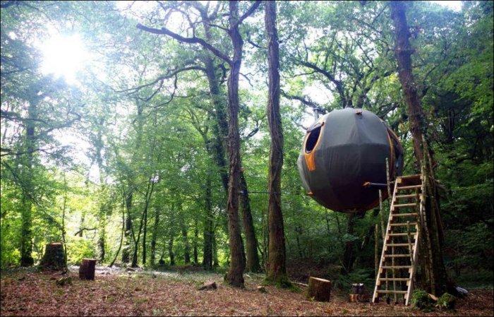 Подвесная палатка в лесу (7 фото)