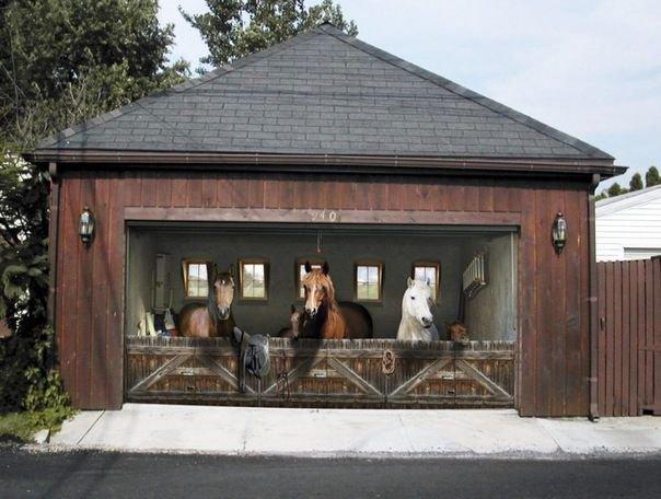 Реалистичные рисунки на воротах
