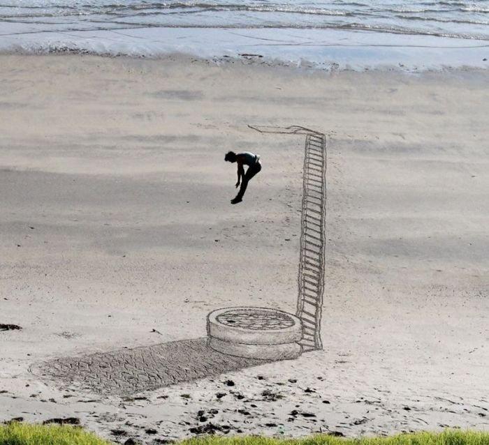 3D рисунки на песке (34 фото)