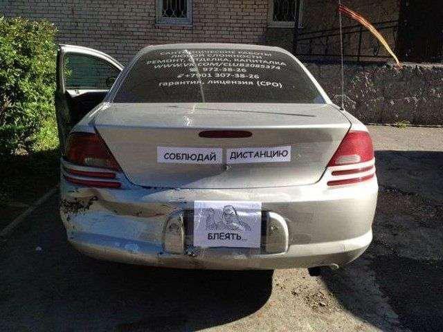 Загонные надписи на автомобилях (18 фото)