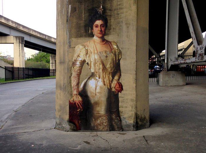 Персонажи известных картин на городских стенах (14 фото)