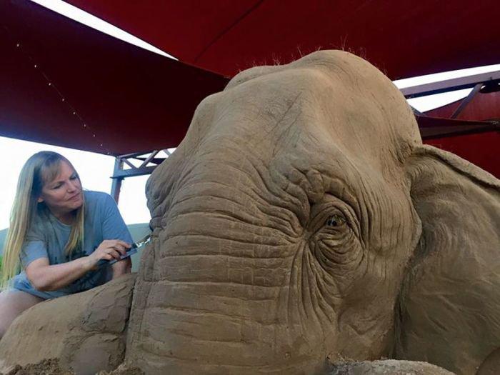 Слон и мышь из песка (9 фото)
