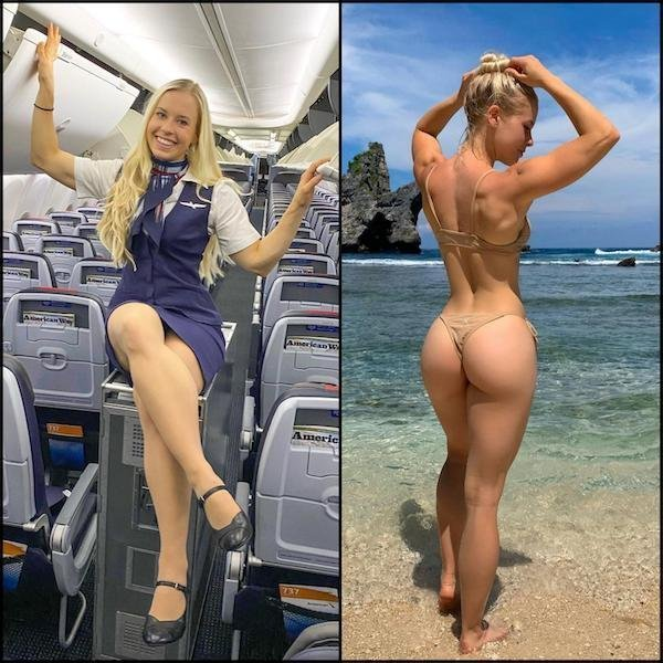 Стюардессы в униформе и обычных вещах