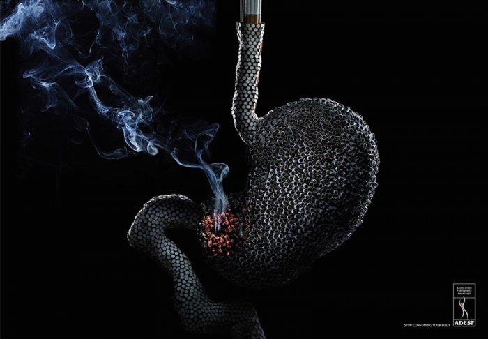 Фото о вреде курения, креативно и устарщающе! (3 фото)