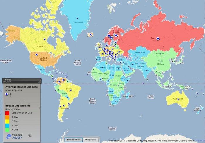 Размер груди и пениса в разных странах (2 фото + текст)
