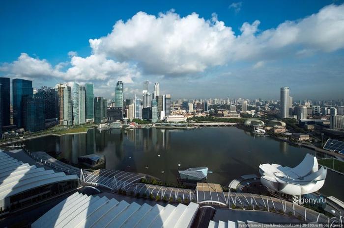 Отель Marina Bay Sands, бассейн под облаками (35 фото)
